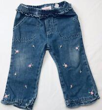 Baby Q Vintage Floral Jeans 12 Mos Denim Blue Pink Flowers Embroidered