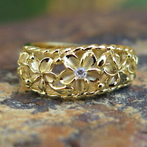 Hawaiian 925 Silver Five Gold Plumeria Flowers CZ Wedding Ring Band 8mm SR3245