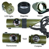 7 in 1 Military Style Emergency Whistle Survival Compass Thermometer LED PRO
