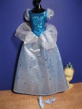Barbie Dolls PRINCESS Cinderella Clothes Dress Blue Gown Tiara Blue Shoes Disney