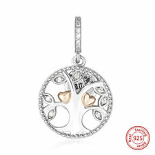 925 Sterling Silver Family Tree Necklace Clear Cubic Zirconia Gold Hearts Charm