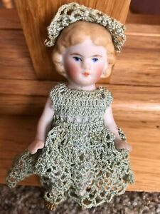 """4"""" Antique all bisque miniature dollhouse German Barefoot Girl Child Doll NR"""