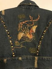 Z.Cavaricci Size 0 Blue Denim Cropped Heavily Embroidered Studded Jean Jacket