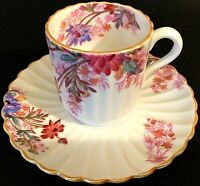 COPELAND SPODE CUP AND SAUCER CHELSEA GARDEN ENGLAND R9781 DEMITASSE FLUTED