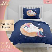 Baby Unicorn Dream Kids Cartoon Blue Duvet Cover King Bed Single Double Queen