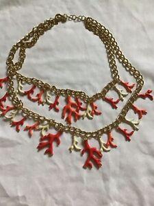 LILLY PULITZER Massive CORAL BRANCH Necklace Orange Red Cream Enamel