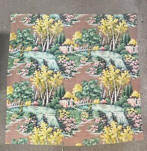 5Panels! Vintage Shabby Chic Barkcloth Flower CURTAINS Mid Century floral tiki