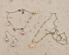 Authentic 925 sterling silver & pearl necklace, bracelet & earring suite