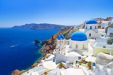 "Santorini Greece Greek Blue Sea Holidays 20""x30"" Canvas Picture Wall Art Print"