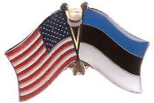 USA American Estonia Flag Bike Motorcycle Hat Cap lapel Pin
