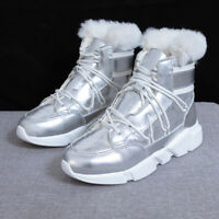Women's Snow Boots Mid Calf High-top Girl Fur Lined Warm Shoes Winter Sneakers