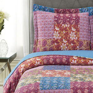 Floral Patchwork Kenzy Oversized Coverlet Set Printed Microfiber Wrinkle Free