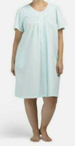 Miss Elaine Plus Size Short Snap Seersucker Robe NWT Size 1X Turquoise
