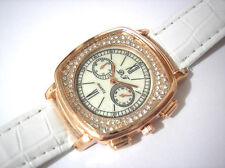 Bling Bling White Leather Band Ladies Watch Item 4389