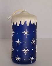 "Frosted Glass 6"" Refillable Cobalt Blue Pillar Candle with Snowflakes"