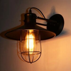 Wall Sconce Black Metal Up&Down Cage Shade Indoor/Outdoor Porch Lights Lamp