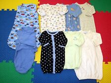 Lot 8 Baby Boy Gowns Outfit Sleepwear Sleep Sack Swaddle Me Clothes 0-3-6 months