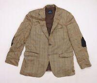 BARUTTI Mens Beige Geometric Rayon Jacket Blazer Size XL