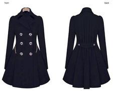 DAMEN Lapel Winter Warm Lang Parka Knöpfe Jacke Outwear Elegant Mantel Gr.36-44