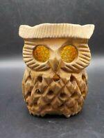 Vintage 1970's Owl Lantern Wood & Amber Glass Candle Votive Holder Glows