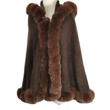 Womens Hooded Cape Poncho Cloak Faux Fur Brown One Size