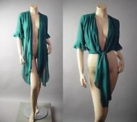 Teal Open Tie Front Sheer Flowy Crop Top Blouse Bolero Jacket 294 mv Shrug S M L