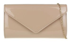 Ladies Glossy Patent Faux Leather Clutch Bag Evening Occasion Plain Bridal
