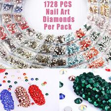 1728 Pcs Nail Art Rhinestone Glitter Diamond Gems 3D Tips DIY Decoration Fashion
