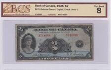 1935 $2 Bank of Canada BC-3, Osborne-Towers English