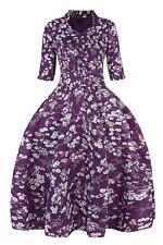 Sale-Purple Floral Bird Print Robe Dress-Swing Skirt-Sleeves- Retro 50's Look-10
