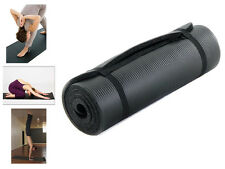 BLACK FOAM YOGA MAT EXERCISE FITNESS PILATES GYM WEIGHT LOSS NON SLIP STRAP 15MM