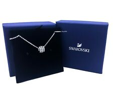Authentic SWAROVSKI Rhodium Sparkle Pave Crystal Trio Loops Necklace 5509400