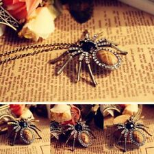 Vintage Crystal Sweater Chain Spider Pendant Necklace Unisex Jewelry A xuefe