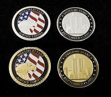 2 pièces 11 septembre 2001 usa 911 attentat 40mm argentées d'or médaille rare