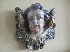 Antique Carved Painted Gilt Decorated 19th Century Putti Angel Cherub Wood Face
