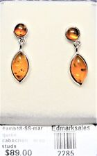 BALTIC AMBER STUD EARRINGS-STG SIL (925), 9X6mm marquise & 4.5mm round-1.5gr.