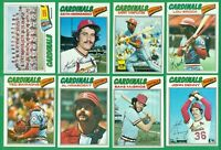 1977 TOPPS ST LOUIS CARDINALS TEAM SET NM   BROCK  HERNANDEZ  HRABOSKY  SIMMONS