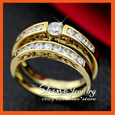 REAL 9K GOLD CHANNEL WEDDING DIAMONDS SIMULANT ENGAGEMENT WOMENS SOLID RING SET