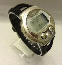 Seiko Receptor Message Dual Time Alarm WR Silver Tone Digital Watch MA52-4A50