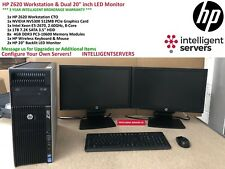 "HP Z620 Workstation, E5-2670 6-Core, 32GB, 1TB HDD, NVS 300, 2x  20"" LED Monitor"