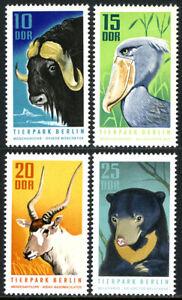 Germany DDR/GDR 1243-1246, MNH. Berlin Zoo: Musk ox, Shoebill, Addax, Bear, 1970