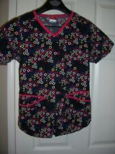 Dickies Black w/ Red, White, Blue, and Yellow Accents Size Xs Uniform Scrub Top