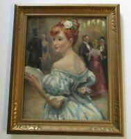 ANTIQUE EXHIBITED ESTHER WILLIAMS PAINTING PORTRAIT PARTY DECO  VIRGINIA MUSEUM