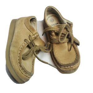 Footmates Toddler 8 Medium Tan Suede Dress Shoes Wally Low Leather