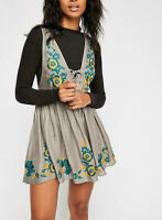 10749 New Intimately Free People Embroidered Aida Tie Knot Tunic Mini Dress S