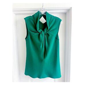 Oscar de la Renta silk sleeveless blouse Size 6 Green