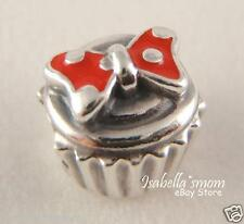 DISNEY COLLECTION Authentic PANDORA Silver Red Enamel  MINNIE CUPCAKE Charm/Bead
