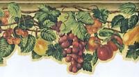 Fruits and Leaves on Vine Die-Cut Wallpaper Border  63296240
