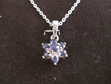 925 STERLING SILVER or 22ct GOLD CLAD PENDANT, GENUINE REAL SAPPHIRE