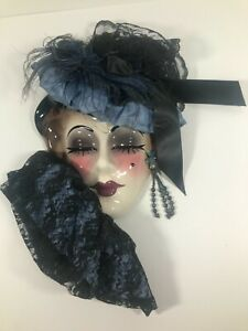Vintage Clay Art Mask Blue Hat Closed Eyes